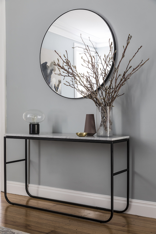 AFTER hallway. A Warranbrooke mirror sits above a Grazia & Co console table.