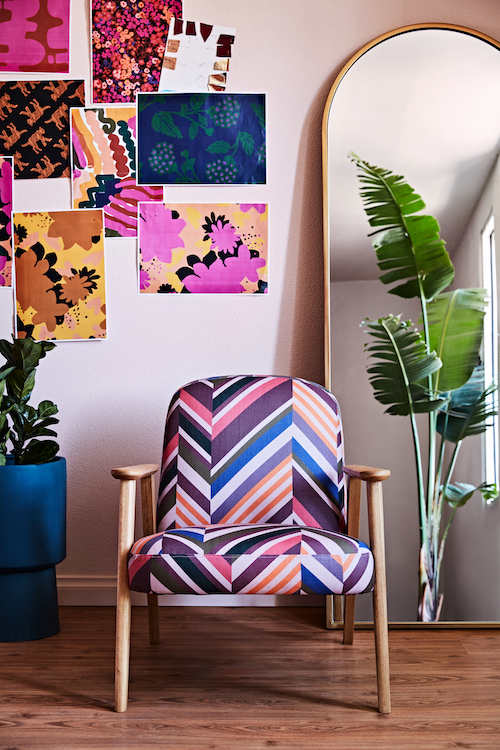 This gorgeous west elm chair was custom upholstered in Obus fabric