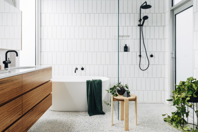 By Bruno created this modern yet classic bathroom. Image: Lauren Bamford