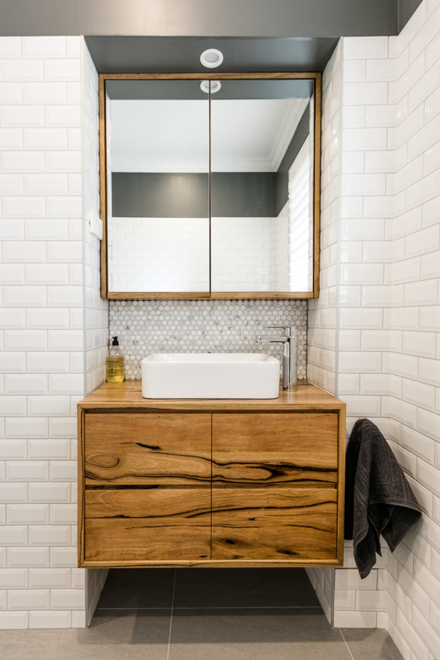 Jen's former home included an Ingrain Designs' 'Northcliffe' timber vanity. Image: Jacqui Turk
