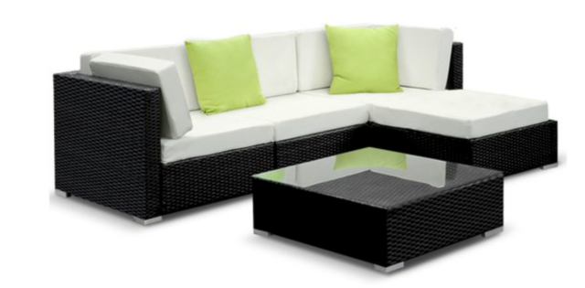 L Shape Outdoor Lounge With Glass Table Top