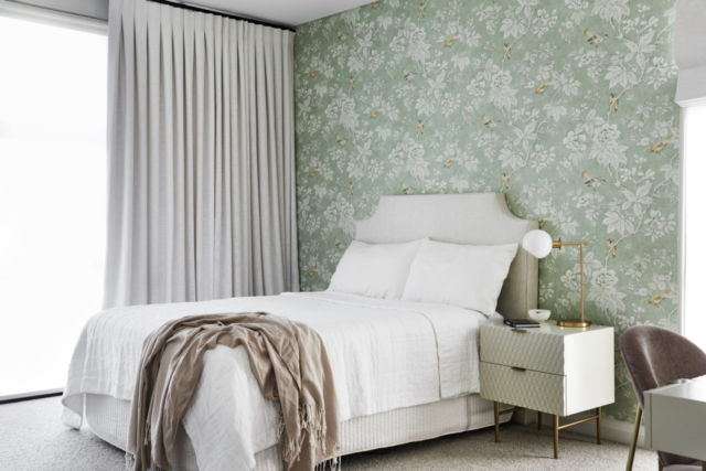 Lori used Sanderson's pretty 'Chiswick Grove' floral wallpaper in a recent project. Image: Ryan Linnegar