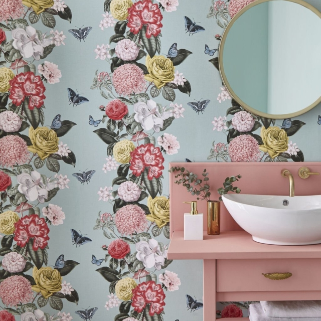 Graham & Brown's Bloomsbury wallpaper in neo mint