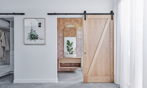 Barn door hardware: New paintable, DIY from Corinthian