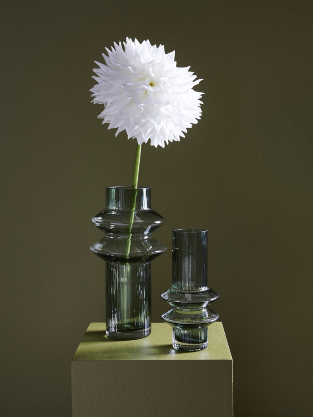 The Aswan and Memphis vases have been created in soft green
