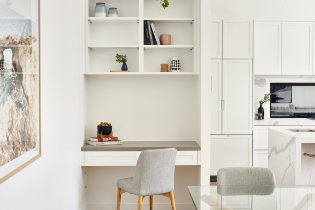 A study nook makes efficient use of space beside the kitchen