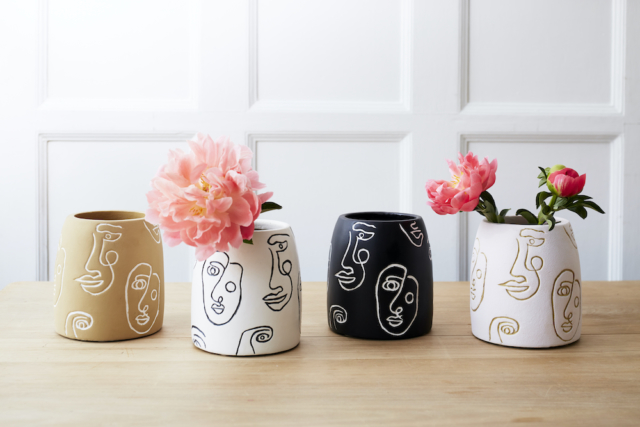 We love these uber on-trend line drawn face vases