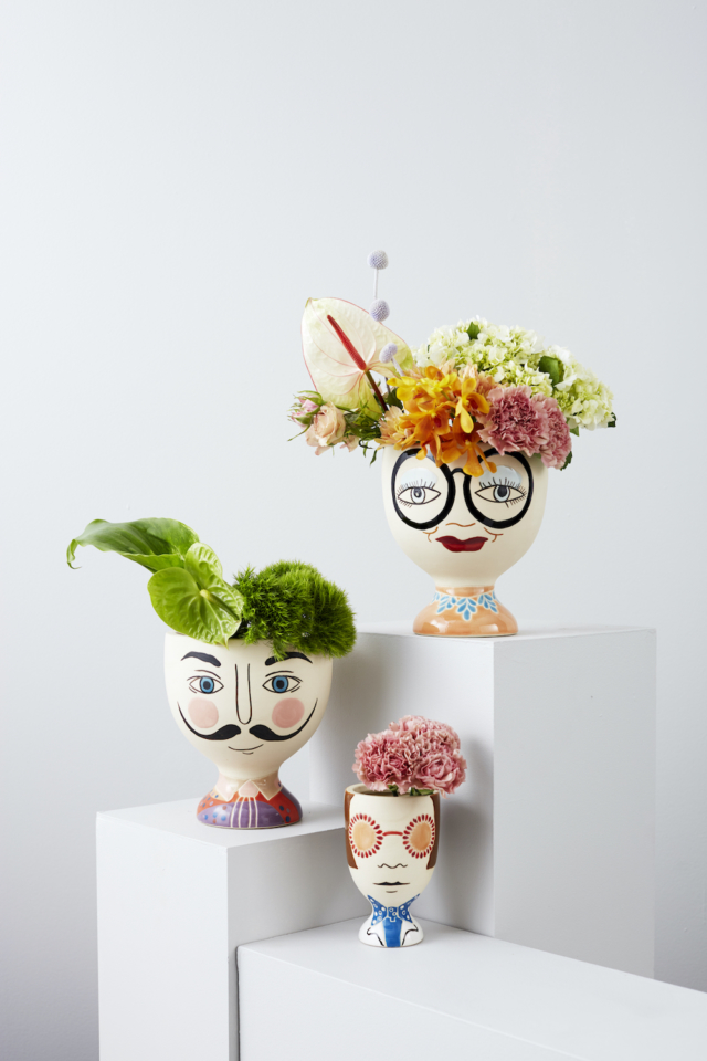 New face planters include Dali, Iris and Elton