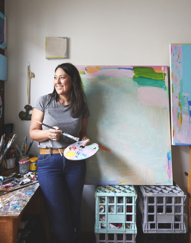 Artist Alizon Gray in her Melbourne studio