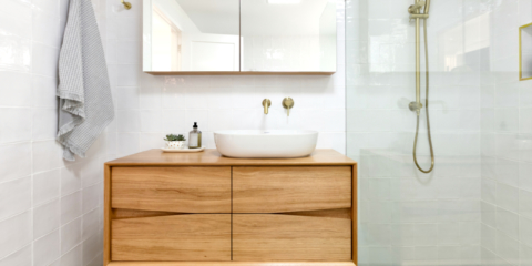 Jen's Ingrain Designs bathroom vanity is made from Hydrowood. Photo: Jacqui Turk