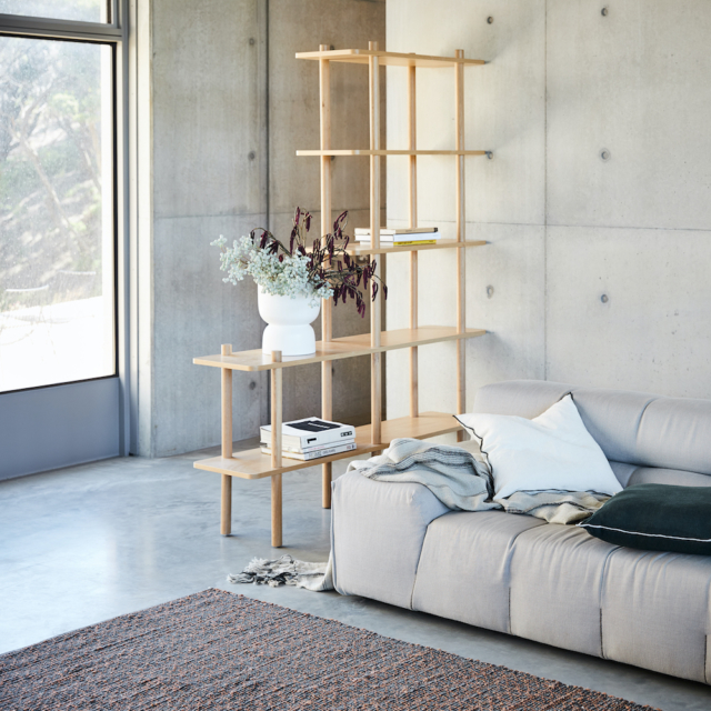 The 'Boston' shelving shown here with cushions and a throw from the range