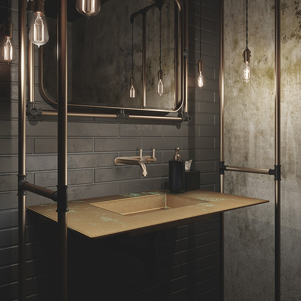 Caption: The brand also has the capacity to custom make metal basins and vanities – specifically brass and copper.