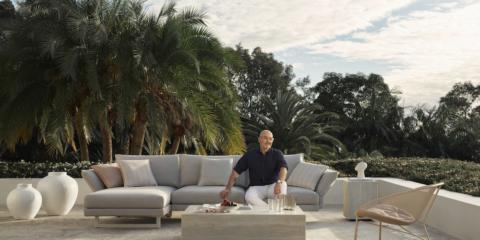 Neale Whitaker on the King Living Zaza outdoor sofa