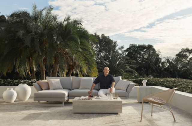 Neale Whitaker on the King Living Zaza outdoor sofa