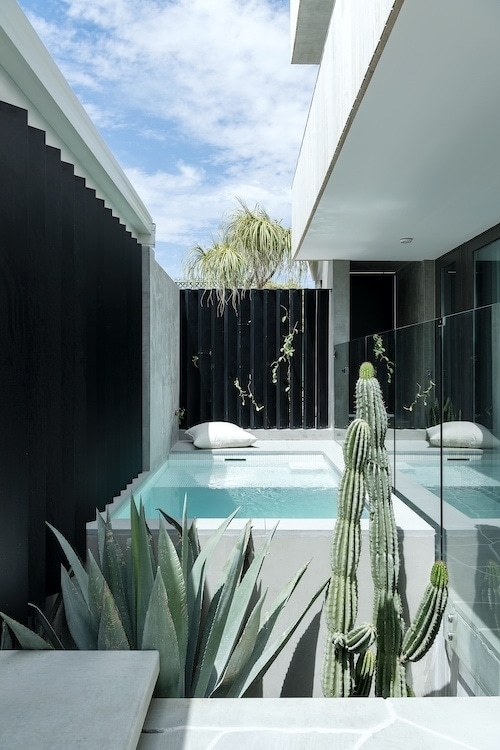 Minimalist desert-inspired landscaping, including cactus and succulents, complement the simple Modernist form of the home