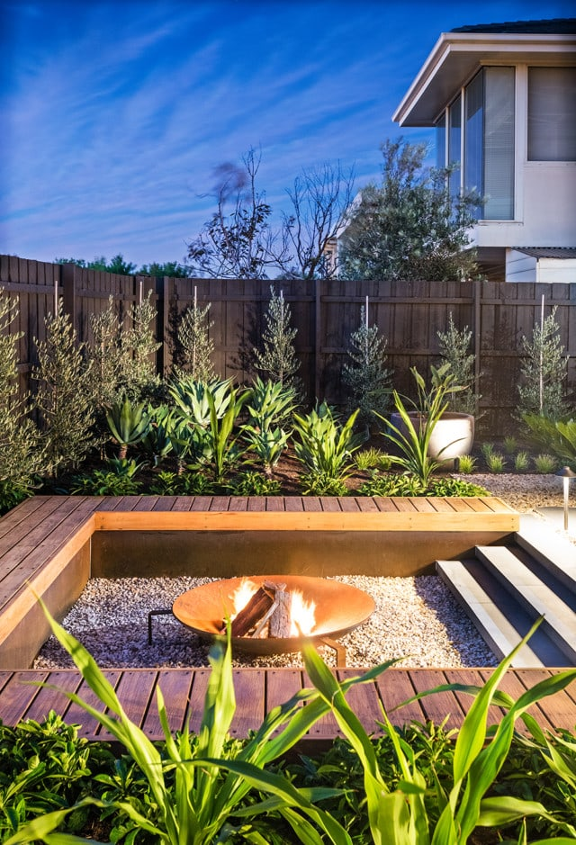 This inviting garden with fire pit, by Bayon Gardens, was popular on Houzz in 2020. Photo by Tim Turner.