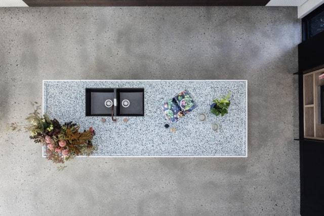 The kitchen bench top is a terrazzo slab from Signorino