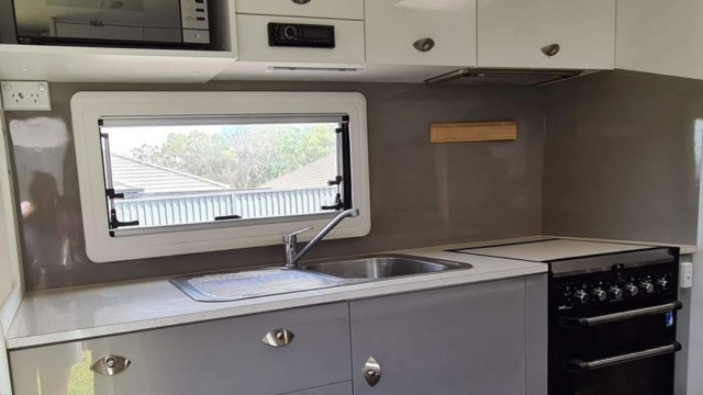 BEFORE: Caravan kitchen