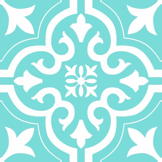 Flourish motif tile in blue