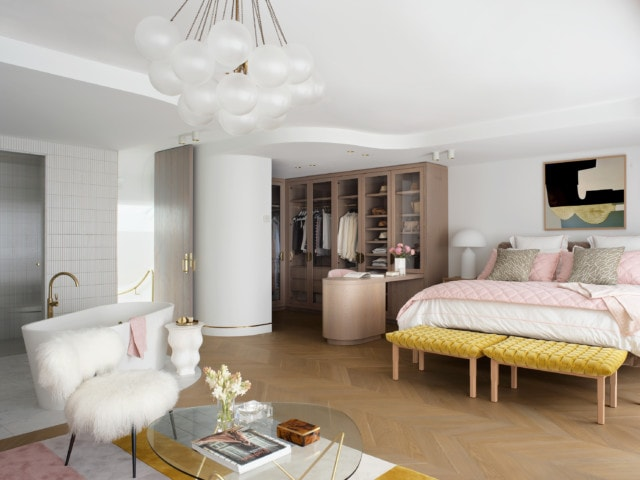 The open plan master suite